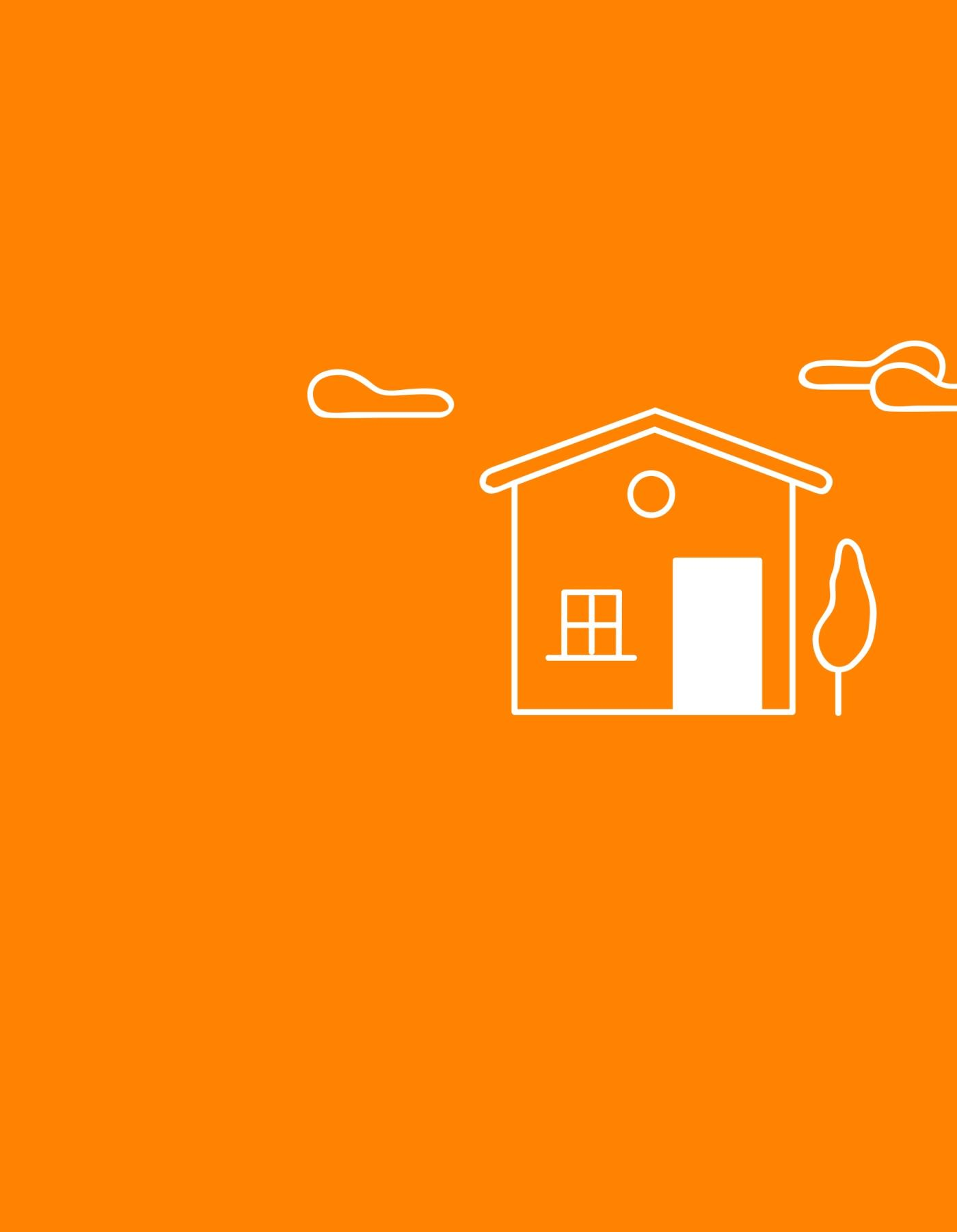 orange background with house and clouds illustration